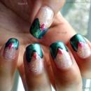 Glittery duo-chromey chevron french mani