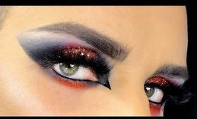 Sexy Vampire / Demon / Zombie / Witch Smoky Eyes with Glitter - Halloween Makeup Tutorial