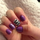 purple nails with chevron and glitter!