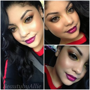 Fun holiday look! Rose gold eyeshadow, lashes and a bright bold lip!