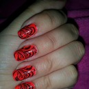 Moody Red with Black Konad Design