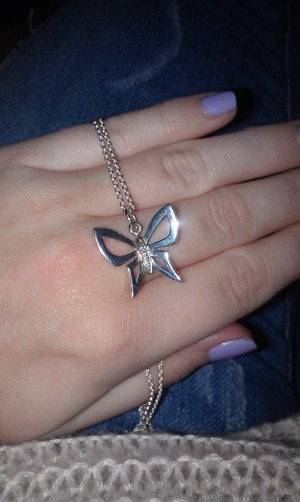 I'm really picky about jewelry, but my boyfriend got me this butterfly necklace for Christmas, and I really really love it!! I think it's a very classic and simple necklace, but still a little sparkling and cute!