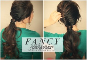 See how to do this on your own hair here -   http://www.makeupwearables.com/2014/01/fishtail-braid-ponytail-hairstyle.html