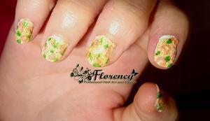 1.Base coat: white 2.Draw some pink roses 3.Add golden glitter  nail polish