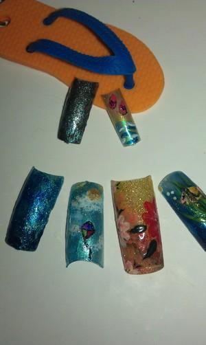Creative morning; some summery nail arts.