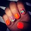 Orange Flower Nails