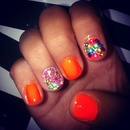 Orange Flower Nails
