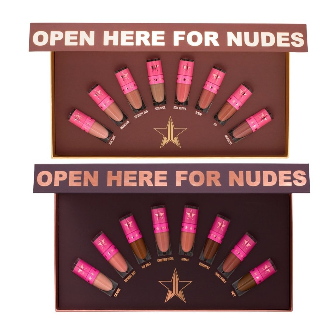 Jeffree Star Cosmetics The Mini Velour Liquid Lipsticks Nudes: Volume One & Volume Two product smear.