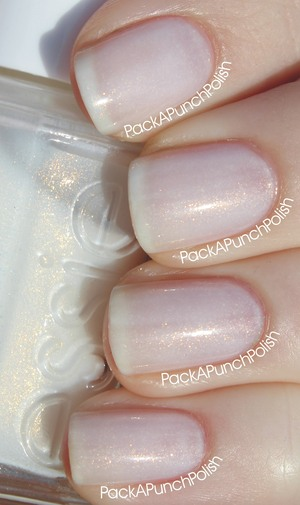 A sheer, milky white polish with subtle gold shimmer. This is 4 coats with no top coat.