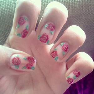 Sweet Rose design :) on just plain nails.