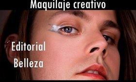 Delineado metálico creativo, maquillaje editorial