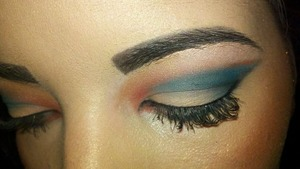 A fun look i did for summertime using the complimentary blue and orange pigments