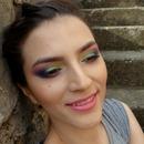 Colorful makeup with Sleek