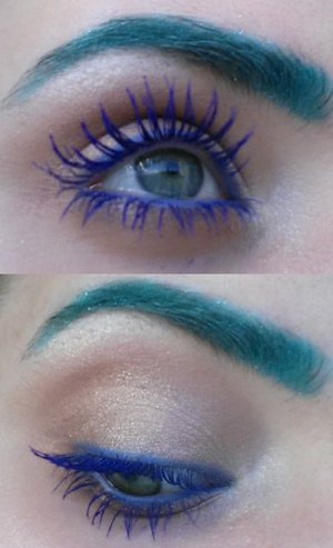 Feeling blue - but not really.. I received a beautiful blue mascara from the body shop by my friend <3