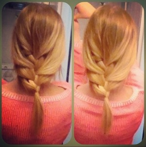 Quick and comfy yet pretty hangover hairdo: loose french braid (: