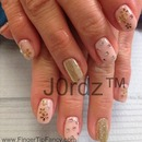 Pink with gold flowers