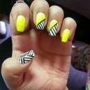 neon yellow with stripes of black and white