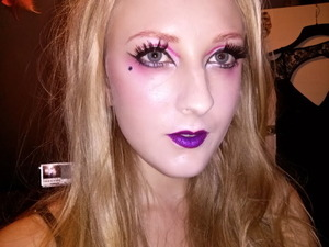 Pink brows and purple lips