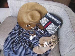 Comfy Chic. Maxi dress, embellished sandals, floppy hat, Michael Kors watch, accessories, vintage Gucci clutch, Miu Miu sunglasses