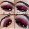 Red glitter holiday look