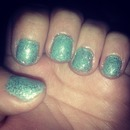 Mint green and glitter