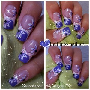 PURPLE FRENCH TIP NAIL ART DESIGN TUTORIAL-SUMMER FLORAL . https://www.youtube.com/watch?v=IfIwLLP2tgc