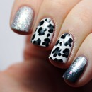 Snow Leopard and Glitter Nail Art