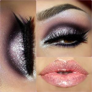 instagram : @auroramakeup FB: https://www.facebook.com/AuroraAmorPorElMaquillaje  Este es un maquillaje un tanto diferente porque brilla hasta el cielo  pero bueno es parala fiesta de Año nuevo y que mas da a BRILLAR SE HA DICHO !!! <3 :D :D  Lifted Neutral Eye Primer with Firmitol by tarte cosmetics Prebase de sombras de http://www.tartecosmetics.com  Pink and Purple shades into Eye Transformer palette by e.l.f. Cosmetics to hightlight my brow bone and as transition color blending  dark purple on the crease Sombras rosa y purpura de la paleta EYE TRANSFORMER de ELF Cosmetics para iluminar el hueso de la ceja  I used 2 pair of eyelashes VEGAS BABE El132 by NYX Cosmetics Use 2 pares de pestañas VEGAs BABE de NYX Cosmetics   DAY RATE eyeshadow into CATWALK palette by Anastasia Beverly Hills to mark socket line and blend it out Sombra morada oscura DAY RATE dentro de la paleta CATWALK de http://www.anastasiabeverlyhills.com para marcar el globo ocular o pliegue del ojo     BABY PINK eyeshadow by @nyxcosmetics as a base on mobile eyelid  Sombra BABY PINK de NYX Cosmetics como base en el parpado movil   Glitters CRYSTAL & DISCO BALL by @nyxcosmetics on mobile eyelid Brillos CRYSTAL y DISCO BALL de NYXCosmetics en el parpado movil  I use Glitter Adhesive by Motives by Loren Ridinger to stick them . Use el Pegamento de brillos de Motives Cosmetics para pegarlos  Gel eyeliner in BLACK  by MicaBeauty MICABELLA COSMETICS Gel delineador negro BLACK de http://www.micabeauty.com  Lights, camera, lashes 4 in 1 waterproof mascara by @tartecosmetics Mascara de pestañas de Tarte Cosmetics 4 en 1  Matte Highlighter Crayon in CAMILLE by @anastasiabeverlyhills into waterline  Crayon iluminador rosa mate en CAMILLE de Anastasia Beverly Hills para la linea del agua  Loose Pearl Eye Shadow in WHITE PEARL by @nyxcosmetics on the inner corner in huge amount connecting lower part too. Pigmento blanco perla WHITE PEARL de NYX Cosmetics en la esquina interna del ojo en gran cantidad , conectan
