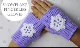 Crochet Snowflake Fingerless Gloves for Beginners