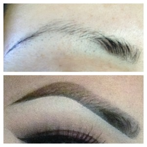 Daily routine of making my super yucky eyebrows (top pic) looking semi better (bottom pic) . Still havent achieved the perfect brow yet for myself its especially hard when im a tweezer addict! lol. Starting the process of letting my brows grow out again so I can achieve a more natural looking brow. Brow rehab