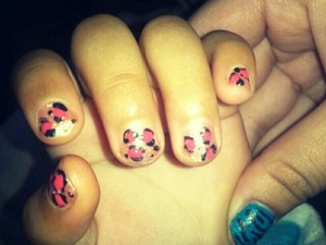I babysit a three year old and she loves getting her nails done so I did a pink girly leopard print! :)