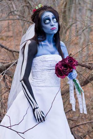 """This is my live interpretation of Tim Burton's film """"The Corpse Bride"""" to achieve this look I used M.A.C Pro Acrylic Paints, Mehron paints, and other various products listed below....  ig: hillary_hunt_mua website: www.hillaryhuntmakeup.com"""