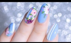 STRIPED HAND PAINTED FLORAL NAIL ART