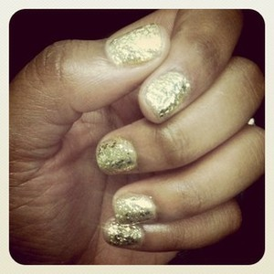 I used two types of glitter used to create this effect - one small & one chunky polish.  Many people were asking if I had gel soak-offs beacuse they look just like them! The key is using a good top coat - I love Seche Fast Dry Top Coat!