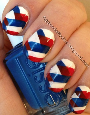 Braided red white and blue patriotic nails!
