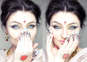 New makeup and soon tutorial about it. A coorful makeup with yellow, orange, pink, green, purple and black eyeshadows.   Also, tips if you don't have henna and kumkum ( for red circle). You can use black eyeliner and red lipstick with red eyeshadows. Of course, is just for oneday, and avoid to clean your hand with water eheheh ;)