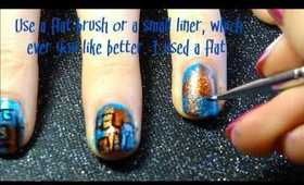 Blue & Orange Abstract Nails