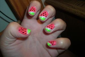 Watermelon nails steps & product list @ www.tippertea.tumblr.com
