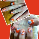 Orange w/ blue paisley/tribal