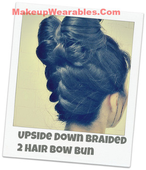 http://www.makeupwearables.com/2013/01/hair-bow-hairstyle-upside-down-braid.html In this quick and easy hairstyles, step-by-step, 2013 instructional, DOUBLE hair bow tutorial video, learn how to make an upside down French braid/plait, double hair bow bun hairstyle chignon updo for medium, long hair.     Learn how to do this cute hairstyle on your own hair!  http://www.makeupwearables.com/2013/01/hair-bow-hairstyle-upside-down-braid.html