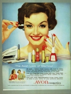 A mid-century Avon ad. Back when nails & lips had to match!