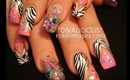 DIVALICIOUS: robin moses nail art design tutorial pink zebra with beads and stones