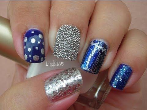 Nail Art Eclectic Blue Mix Match Manicure Decoracion De Unas - Uas-manicura