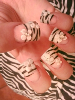 french white tip with zebra print n white 3d flowers swarovski crystals