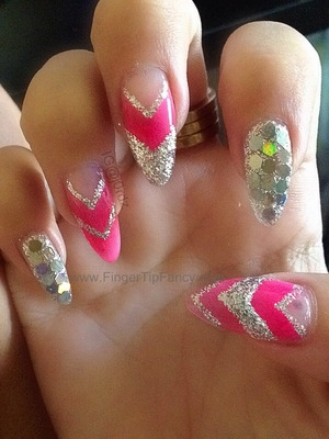 DETAILS HERE:  http://fingertipfancy.com/pink-neon-silver-nail-tutorial