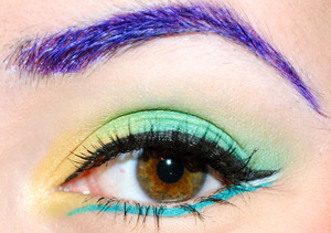 purple brows! + teal liner :) link to the video tutorial: http://www.beautylish.com/v/nprxs/vibrant-rebel-makeup-tutorial