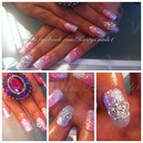 Pink And White Glitter Acrylics With 3D Crown
