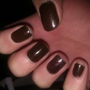 Chocolate brown with glitter accent nail