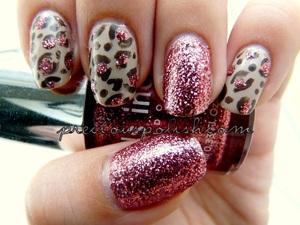 neutral leopard + rose glitter