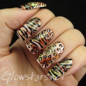Read the blog post at http://glowstars.net/lacquer-obsession/2015/02/leopard-and-zebra-on-metallic-leaf/